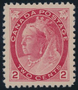 Lot 286, Canada 1899 two cent carmine Numeral, Die I, XF NH, sold for C$575