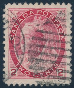 Lot 290, Canada 1899 two cent carmine Numeral, VF with Strathroy duplex cancel, sold for C$431