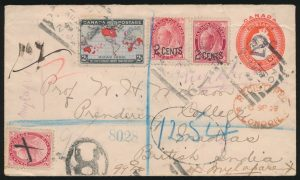 Lot 386, Canada 1899 Map Stamp cover Shediac New Brunswick to India, overpaid, sold for C$1,150