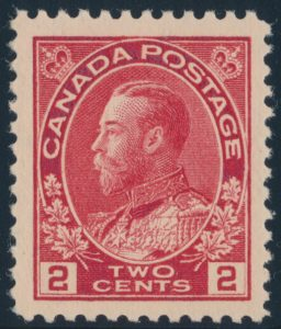 Lot 459, Canada 1917 two cent carmine Admiral, XF NH, sold for $149