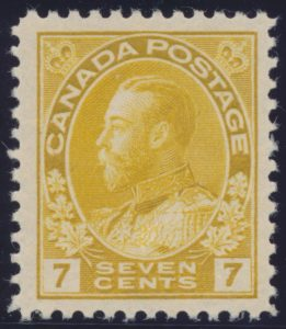 Lot 471, Canada 1912 seven cent yellow ochre Admiral with retouched vertical line, VF NH, sold for C$489