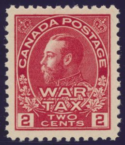Lot 510, Canada 1915 two cent carmine Admiral War Tax XF NH, sold for $195
