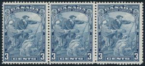 Lot 556, Canada 1934 Cartier Scarface variety, middle stamp in strip of three, VF NH, sold for C$489