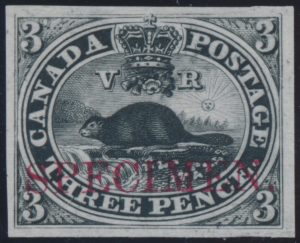 Lot 6, Canada 1850s three penny Beaver plate proof in black with SPECIMEN overprint, sold for C$489