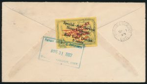 Back from Lot 633, Canada 1927 5c on 10c Patricia Airways on cover Goldpines to Sioux Lookout, sold for C$345
