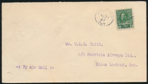 Front from Lot 633, Canada 1927 5c on 10c Patricia Airways on cover Goldpines to Sioux Lookout, sold for C$345