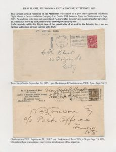 Lot 1191, 1919 Truro-Charlottetown flight covers on exhibit page, sold for C$1955