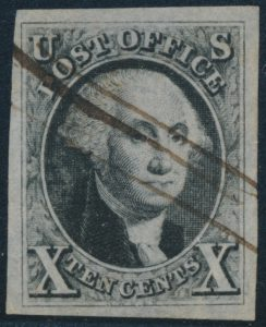 Lot 1066, USA 1847 ten cent black Washington, VF used, sold for C$518