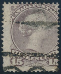 Lot 126, Canada 1868 fifteen cent grey violet Large Queen with T-29 precancel, no gum, sold for C$109