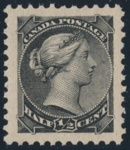 Lot 138, Canada 1882 half cent black Small Queen, XF NH, sold for C$81