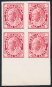 Lot 259, Canada 1898 three cent Leaf plate proof marginal block of four in carmine, sold for C$489