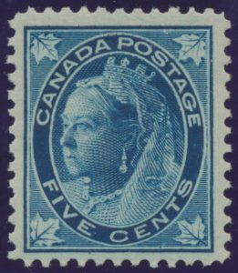 Lot 260, Canada 1897 five cent dark blue Leaf on bluish paper, VF NH, sold for C$546