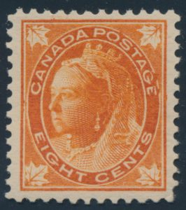 Lot 269, Canada 1897 eight cent orange Leaf, VF NH, sold for C$1,093