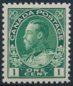 Lot 454, Canada 1920 one cent dark yellow green Admiral, XF NH, sold for C$184