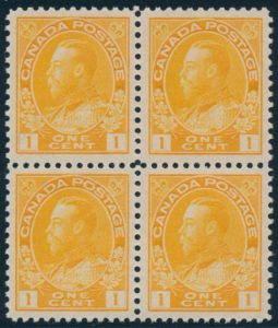 Lot 457, Canada 1922 one cent orange yellow Admiral, XF NH block of 4, wet printing, sold for C$316