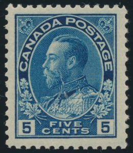 Lot 467, Canada five cent dark blue Admiral, XF NH, sold for C$719