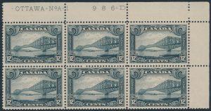 Lot 535, Canada 1930 twelve cent grey black Québec Citadel, VF NH plate block of six, sold for C$690