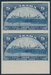 Lot 548, Canada 1933 five cent dark blue Parliament, XF NH pair, sold for C$1,035