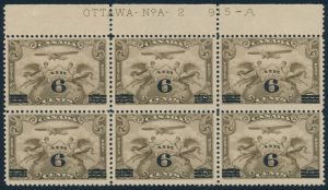 Lot 621, Canada 1932 6c on 5c brown olive Airmail surcharge NH block of six, swollen breast variety at top right, sold for C$316