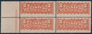 Lot 653, Canada 1880s two cent orange red Registered mint block of four with 'burr to right of T in CENTS' variety in lower right stamp, sold for C$546