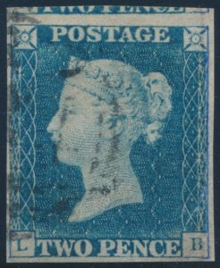 Lot 867, Great Britain 1840 VF used two penny blue, sold for C$834