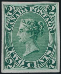 Lot 87, Canada 1859 two cent Queen Victoria trial colour proof in green, sold for C$207