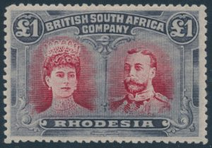 Lot 930, 1910 Rhodesia £1 high value, set sold for C$3,105