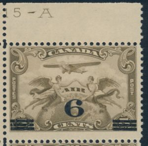 Lot 621, Canada 1932 6c on 5c brown olive Airmail surcharge, 'swollen breast' variety, sold for C$316