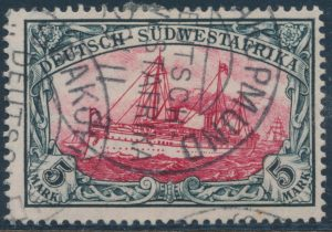 Lot 1026, German South West Africa 5mark value from 1900 Kaiser's Yacht set, used F-VF, sold for C$265