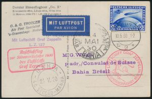 Lot 1050, Germany 1930 Graf Zeppelin flown postcard to Brazil, back, VF