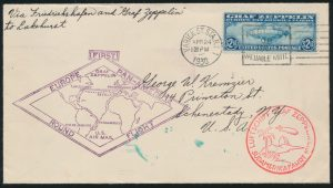 Lot 1064, 1930 round trip Graf Zeppelin cover New York, Germany, South America