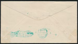 Lot 1064, 1930 round trip Graf Zeppelin cover New York, Germany, South America, (reverse)