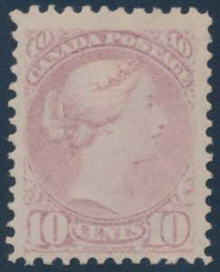 Lot 137, Canada 1874 ten cent pale milky rose lilac Small Queen, VF hinged