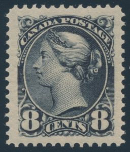 Lot 150, Canada 1893 eight cent violet black Small Queen, XF mint hinged