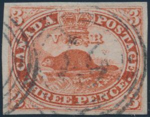 Lot 23, Canada 1852 three penny red Beaver, VF used, sold for C$265