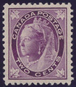 Lot 256, Canada 1897 two cent purple Leaf, XF NH, sold for C$230