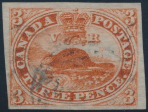 Lot 27, Canada 1852 three penny orange red Beaver, F-VF used, sold for C$196
