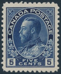 Lot 278, Canada five cent indigo Admiral, XF NH