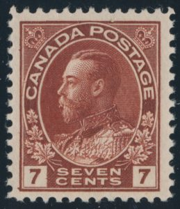 Lot 473, Canada 1924 seven cent red brown Admiral, wet printing, VF NH, sold for C$161