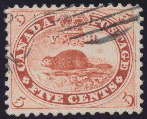 Lot 62, Canada 1859 five cent vermilion Beaver, VF used, sold for C$265