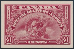 Lot 641, Canada 1935 twenty cent dark carmine Special Delivery plate proof, VF, sold for C$288