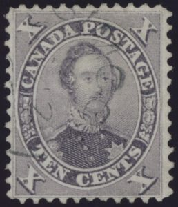 Lot 72, Canada 1859 ten cent violet Consort, XF used, sold for C$316