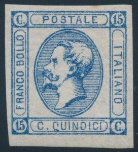 Lot 725, Italy 1863 fifteen cent blue King Victor Emmanuel, VF NH