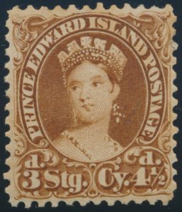 Lot 743, PEI 1870 four and a half pence brown Victoria, VF appearing mint, sold for C$288