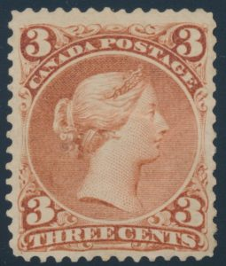 Lot 81, Canada 1868 three cent red Large Queen, VF NH