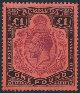 Lot 850, Bermuda 1918 one pound black & violet on red King George V, VF NH, sold for C$345