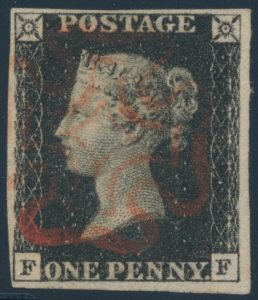 Lot 859, Great Britain 1840 penny black, VF used with red Maltese Cross, sold for C$230