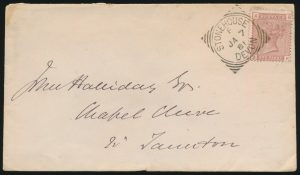 Lot 1161, STONEHOUSE/DEVON squared circle on one penny cover, rarity factor 450