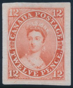 "Lot 12, Canada 1851 twelve pence Victoria ""scar"" die proof in vermilion on india paper"