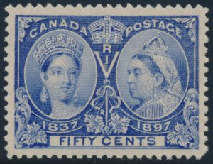 Lot 187, Canada 1897 fifty cent ultramarine Jubilee, XF NH